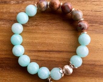 Amazonite/Aqua Terra Jasper bracelet, 'supreme nurturer gemstones, gemstone bracelet, hill Tribe silver, .925 Sterling silver bracelet