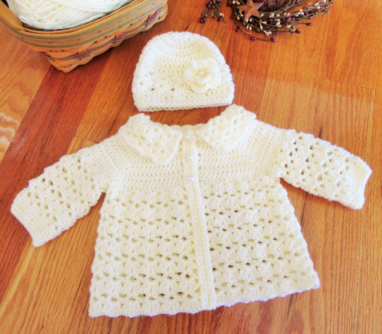 aa7a986c0eb8 Sweet Little Gems  Ivory Baby Sweater Set