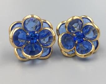 Blue Stone Cluster Flower Pierced Earrings - Vintage Blue Rhinestone Earrings