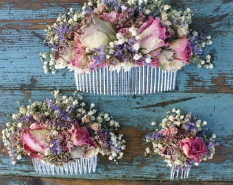Jewel Rose Garden Dried Flower Comb