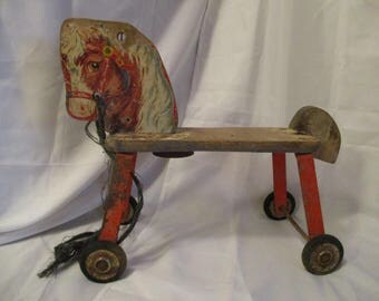 Vintage 1950's children's Ride on wood horse by Gong Bell Mfg Co