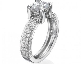 Unique Diamond Promise Ring, White Gold Princess Cut Diamond Engagement Ring, Unique Diamond Jewelry