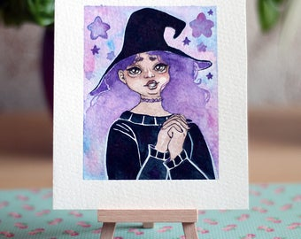 Watercolor Painting - pastel witch