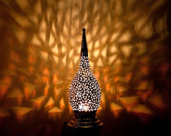 EXOTIC MOROCCAN LIGHT Beautiful Silver Handmade Vintage Metal Moroccan Table Lamp with Intricate Cut Out Designs
