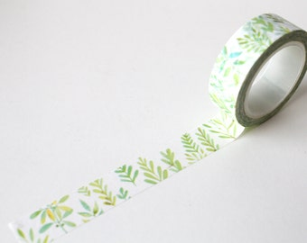 Leaf Washi tape/ Watercolour leaves Planner tape/ Garden Deco crafting tape