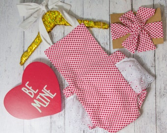 Baby Girl Romper, red heart romper and head wrap set, Valentines day romper, girls valentines outfit, red hearts and white eyelet romper