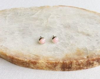 4mm Pink Opal Stud Earrings, Pink Opal Earrings, October Birthstone Jewelry, Sterling Silver Stud Earrings, Pink Stud Earrings, Pink, GSBE53
