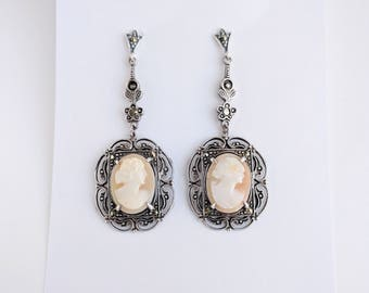 Stunning Art Deco Marcasite & Sterling Cameo Earrings