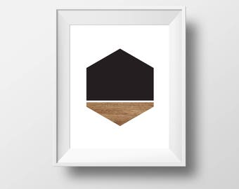 monochrome art print, monochrome art, hexagone art, poster art, wood hexagone
