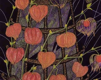 """Art Print; """"Chinese lanterns"""" - A3 flower print, wall art, physalis print, physalis painting, butterfly print, from a painting by Liz Clarke"""