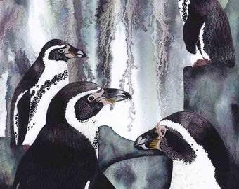 "Art Print: ""Splashdown"" -A3 penguin print, penguin painting, wall art, bird print, black grey art, from an original painting by Liz Clarke"