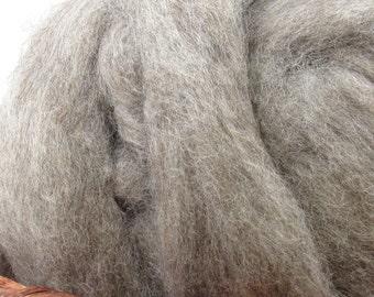 Carded Light Grey Romney Wool Roving - Undyed Spinning & Felting Fiber / 1oz