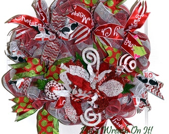 Merry Christmas Poinsettia Deco Mesh Wreath