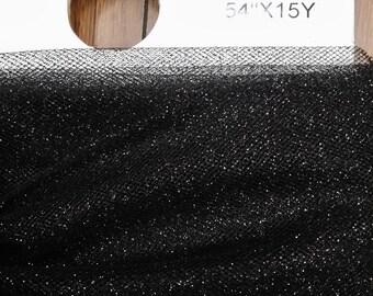 Tulle Bolt Black color/Glitter / Shimmer 54'' Wide.  15 Yds Sold by the bolt,