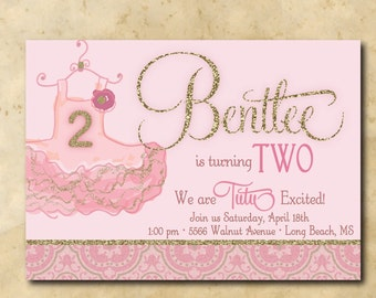 Adorable Tutu Birthday Invitation/DIGITAL FILE/printable/age and wording can be changed
