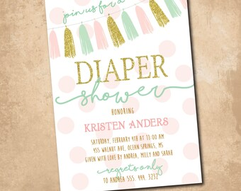 Diaper Shower Invitation/DIGITAL FILE/printable/wording can be added or changed/printing available