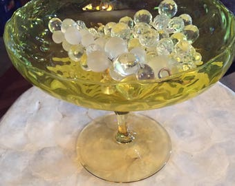 Yellow Glass Bubble Pattern Compote Pedestal