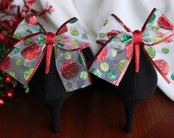 Adorable Red and Green Glitter Polka Dot Boot Clip