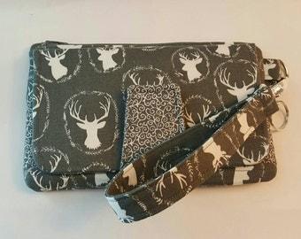Deluxe Phone Wallet-Clutch Wallet-Clutch-Credit Card Wallet-Pearl Wallet-iPhone Wallet! Gray & White Deer w/ Swirl Accents! *R2S!* Only 1!
