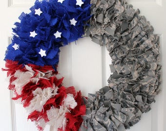 Air Force Wreath, Camouflage Wreath, 4th of July Wreath, Military Family, Homecoming, Deployment, Air Force