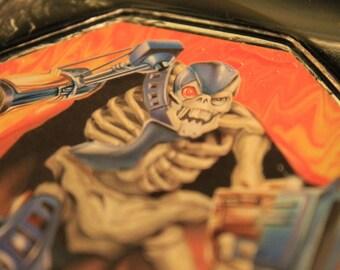 Skeleton Warrior Cyborg Ashtray OOAK Rusty Bones Up Cycled Vintage Glass Felt Bottom Cigarette Smoker Tobacco Pipe