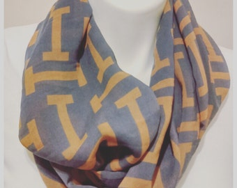 Grey scarf with tan letter i fast shipping chiffon scarf