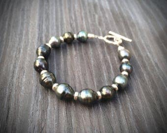 bracelet with tahitian pearls and sterling silver 925 tahiti pearl silver beads