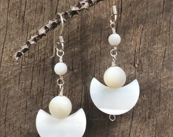 Frosted mother of pearl dangle earrings