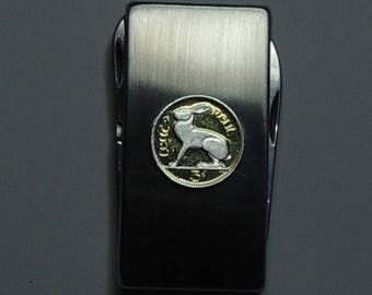 Irish White  Rabbit - Gorgeous 2-Toned (Hand done) Silver on Gold Coin - Combination Knife and scissor Money clip