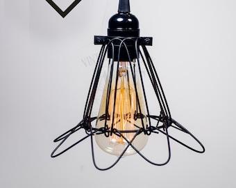 Black Flower Cage pendant light Industrial Aluminium ceiling light, Antique Edison Bulb, Lamp, Rustic Lighting