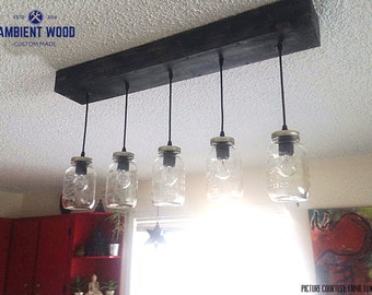 5x Mason Jar chandelier light vintage Industrial, Antique Edison Bulb, Mason Jar Lamp, Rustic Lighting