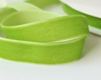 5/8 inch  Yellow-Green Velvet Ribbon / Green Velvet /   VRPH58-053