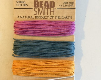 Natural Hemp Cord, 20lb test, Spring Shades