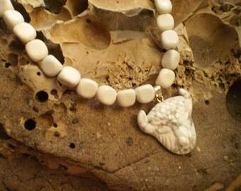 WHITE BUFFALO Necklace in Howlite and Feldspar