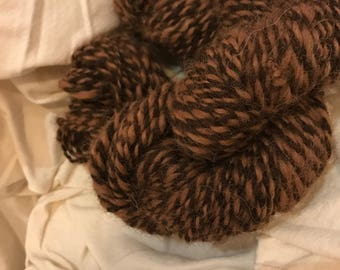 Handspun natural brown alpaca yarn