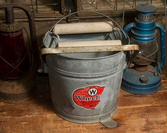 Antique Galvanized Steel Mop Bucket, Wheeling Wash Tub, Primitive Metal Ringer Bucket, Rustic Industrial Home decor, Large Mop Pail