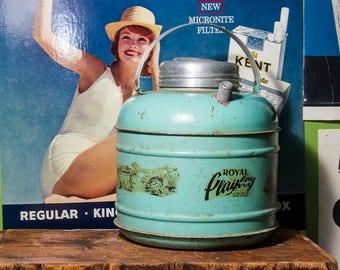 Vintage Royal Playboy Water Jug, RARE Water Cooler, Camping Thermos, Fishing Themed, Turquoise, Antique Gift Idea, HEAVY DUTY, Ohio 1950's