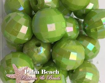 Ten (10) pcs Chunky 20mm Bubblegum Acrylic AB LIME GREEN Faceted Disco Ball  Beads -10pcs