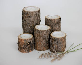 5 Pine Tea Light Candle Holders, Rustic Candle Holders, Centerpieces, Wood Candle Holders, Tea Lights, Rustic Wedding Decor