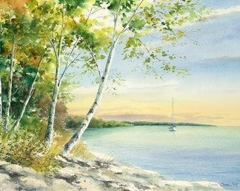 "watercolor landscape painting, ""Endless Summer"" sunset painting, print"