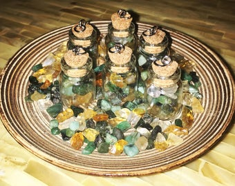 Mini Abundance and Prosperity Bottle Necklaces with Citrine and Emerald Crystals