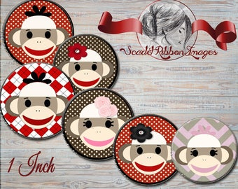 Sock Monkey ONE INCH  Bottle Cap Images  for Birthday Parties and more 1 inch round circles