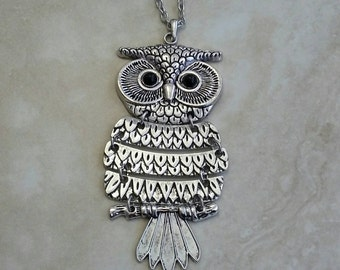 Owl Charm Long Silver Plated Necklace 27-29 Inches