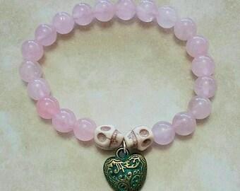 Rose Quartz White Turquoise Skull Beads Patina Heart Charm Bracelet Elastic 7.5 Inches