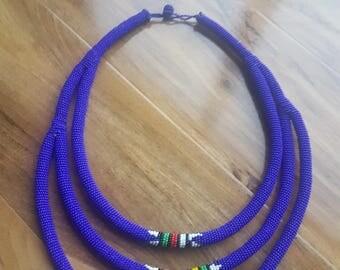Blue trio zulu necklace