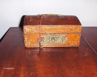 1810, Miniature, Dome Top, Leather Box with Key.