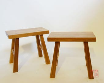 Handmade solid elm wood stool