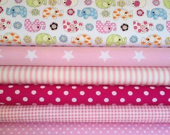 Pink Coordinating Fat Quarter Bundle -Quilting and Patchwork Fabric, 100% Cotton