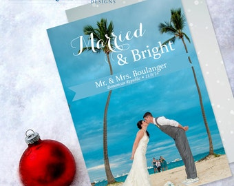 Wedding Christmas Card, Christmas Save the Date, Holiday Card, Personalized Christmas Cards, Custom Printed, 5 x 7 Flat Card with Envelope