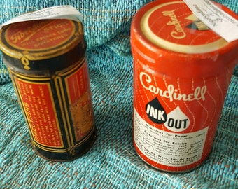 Vintage Advertising tins, Ink Out and Zenith Almond Stick
